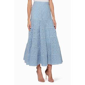 Prose & Poetry Embroidered Eyelet Tier Midi Skirt